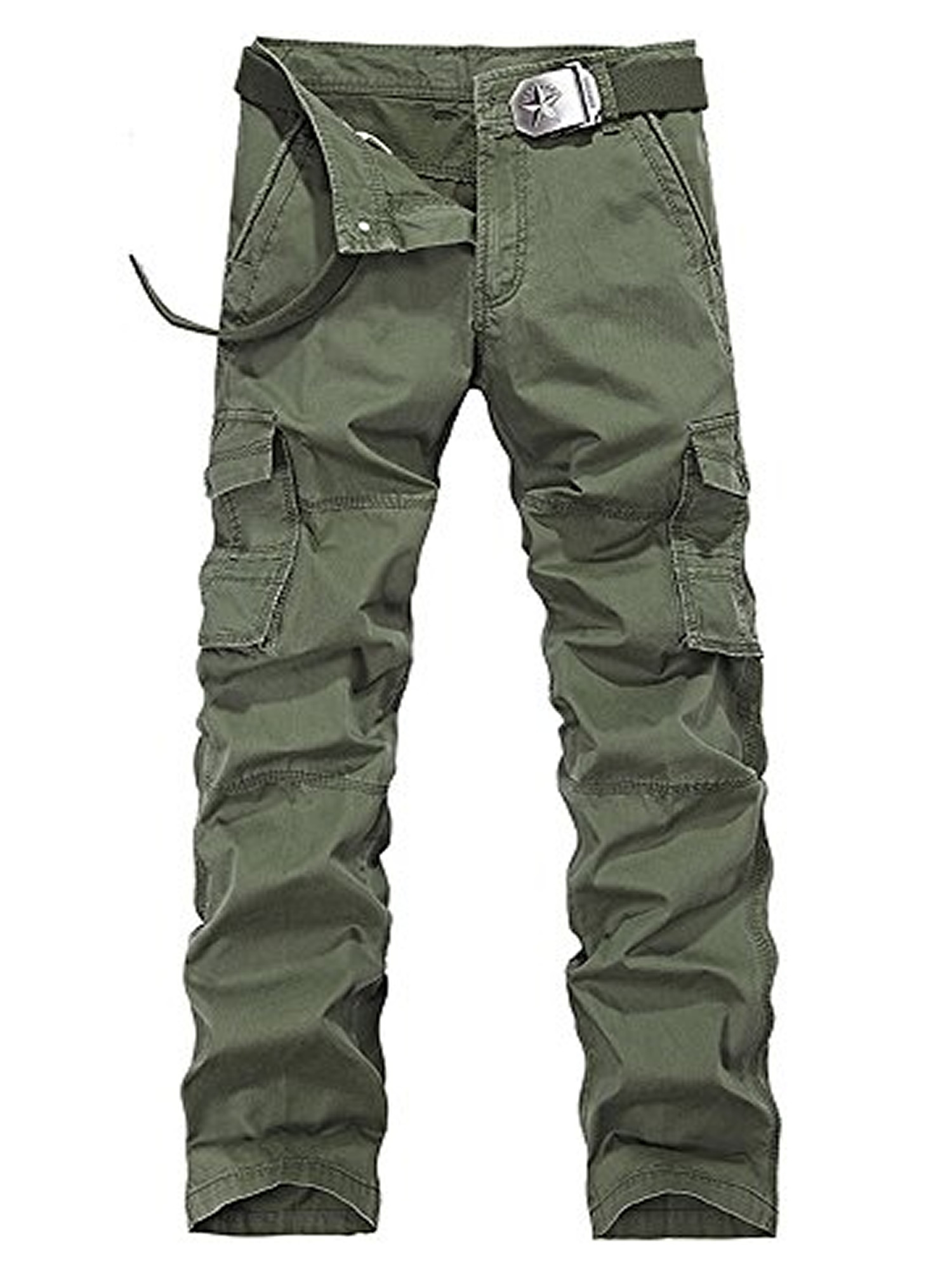 Men/'s Cotton Relax Fit Casual Cargo Pants Military Army Workwear Twill Trousers
