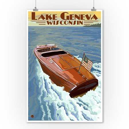 - Lake Geneva, Wisconsin - Chris Craft Wooden Boat - Lantern Press Artwork (9x12 Art Print, Wall Decor Travel Poster)