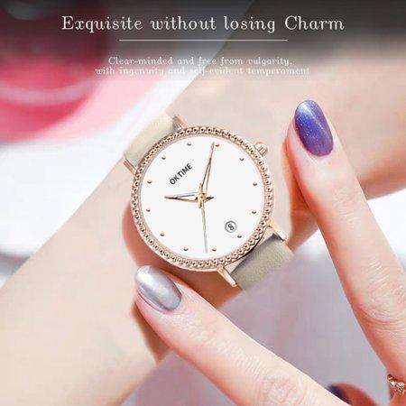 Fashion Simple Women Quartz Watch Student Calendar Alloy Case PU Leather Band Wrist Watch - image 1 de 7