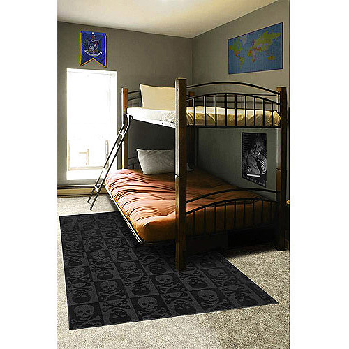 Garland Pirate Skulls and Crossbones Rug, Black