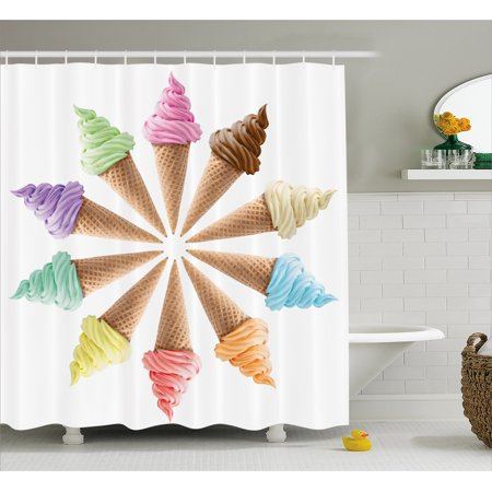 Pictures Ice Cream Cones - Ice Cream Shower Curtain, Cones with Various Flavors Forming a Stylish Row Summer Season Picture Print, Fabric Bathroom Set with Hooks, 69W X 75L Inches Long, Multicolor, by Ambesonne