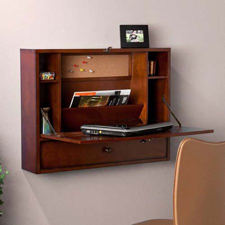 Wall-Mount Laptop Desk - Brown Mahogany