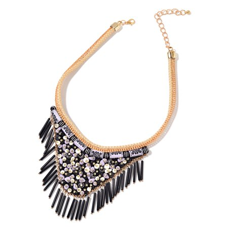Tribal Design Pendant - Black Chroma Goldtone Fabric V-Shape Fringe Tribal Fashion Collar Pendant Necklace 16-20