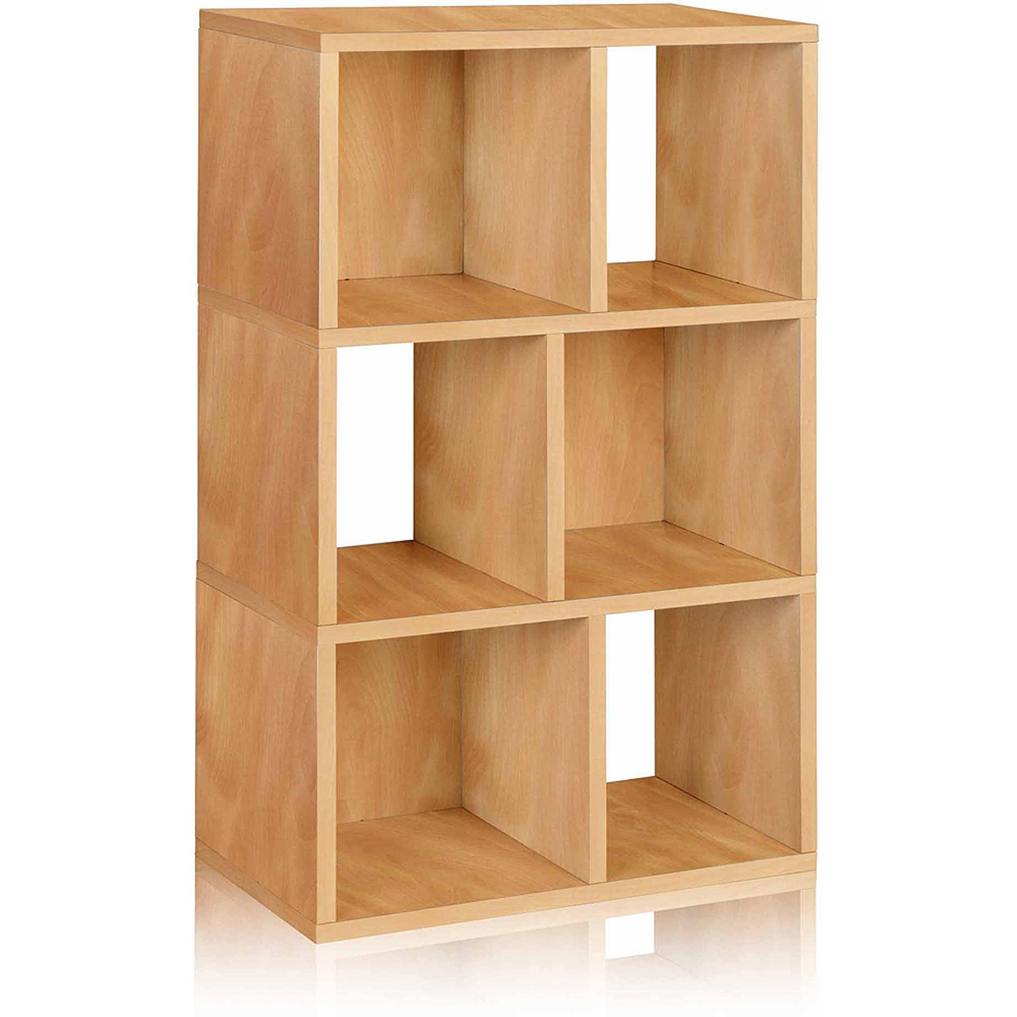 Way Basics Eco 3-Shelf Laguna Bookcase and Cubby Storage, Natural