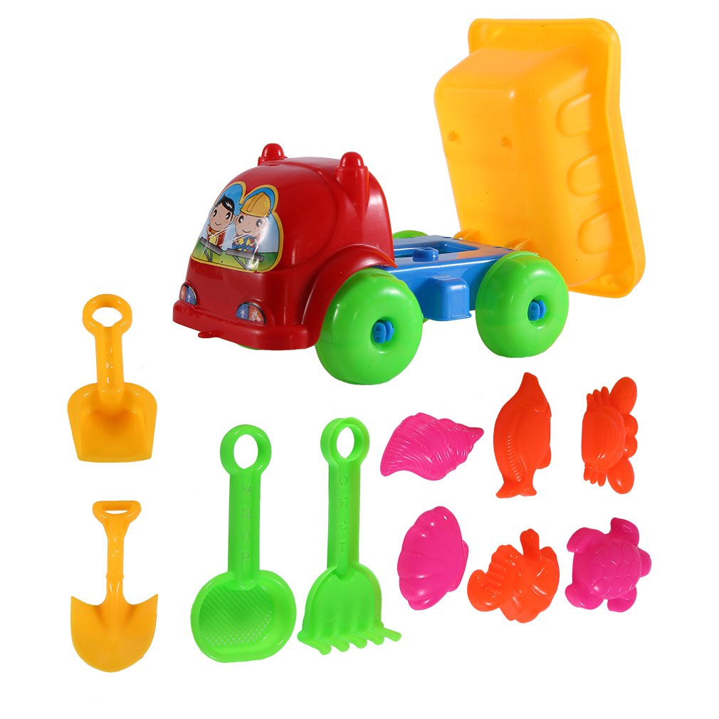 11Pcs set Unique Children Kids Beach Playing Truck Sand Dredging Toy Set Playing Toy Best Gift For Kids Children by konxa