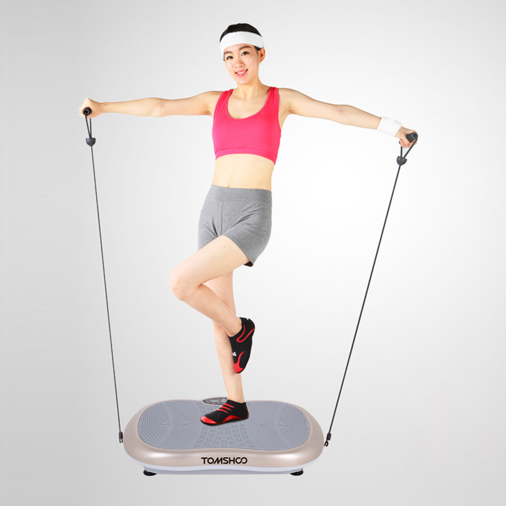 TOMSHOO LCD Touch Screen Fitness Vibration Platform Workout Trainer Hips Muscle Weight Loss Exercise Machine by