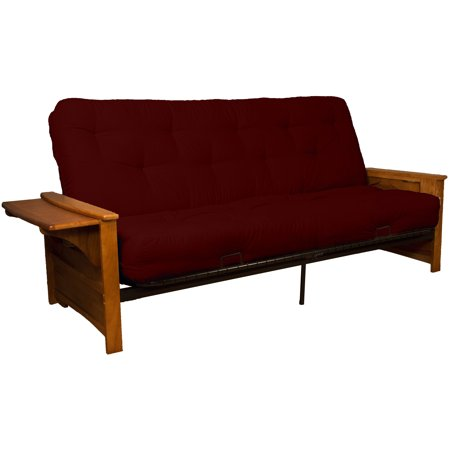 Bayview Attached End Table True 8-inch Loft Cotton/Foam Futon Sofa Sleeper Bed, Full-size, Medium Oak Arms, Twill Red