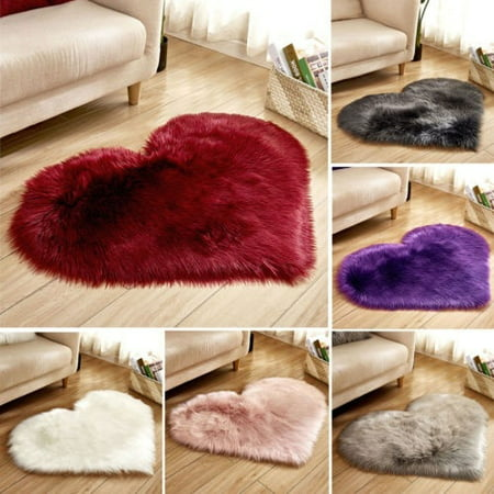 Hot Heart Shaped Shaggy Faux Fur Fluffy Rug Hairy Carpet Floor Mat Home Bedroom