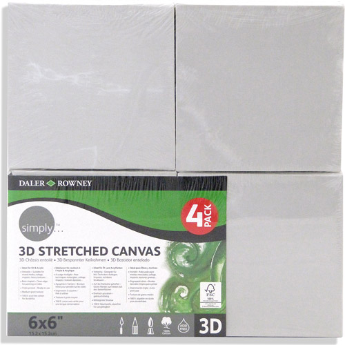 "Simply 3D Stretched Canvas, 6"" x 6"", 4pk"