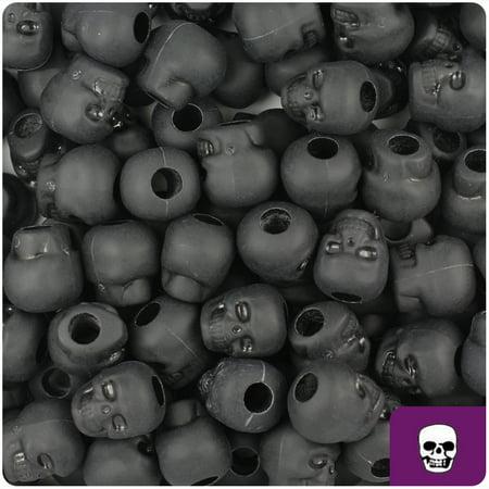 BeadTin Black Matte 11mm Skull Pony Beads -