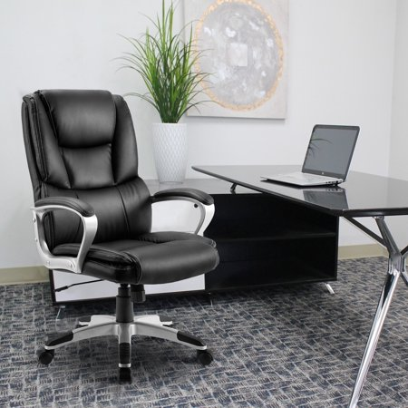 Merax Ergonomic PU Leather High Back Executive Office Chair Big & Tall Commercial Chair Thick Padded Computer Desk Chair with Padded