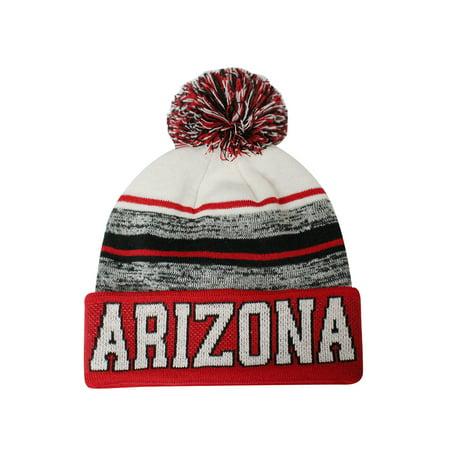 - Arizona Blended Colors Men's Winter Knit Pom Beanie Hat (Red/White)
