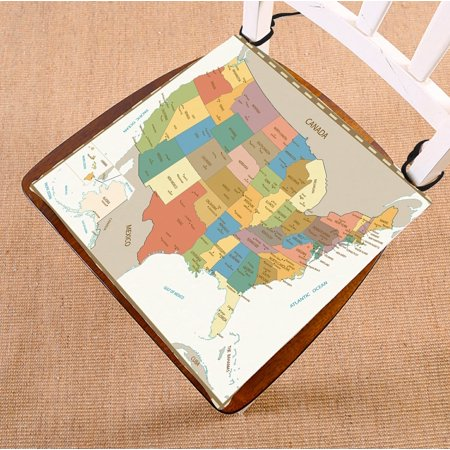 PHFZK Educational Chair Pad, Old Retro Color Map of United States Seat Cushion Chair Cushion Floor Cushion Two Sides Size 16x16 inches