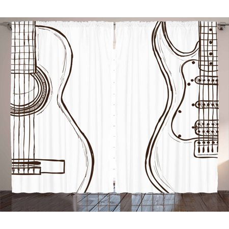 Guitar Curtains 2 Panels Set, Hand Drawn Monochrome Doodle Illustration of Instruments of Two Kinds Music, Window Drapes for Living Room Bedroom, 108W X 63L Inches, Dark Brown White, by Ambesonne (Instrument Panel Saitek)