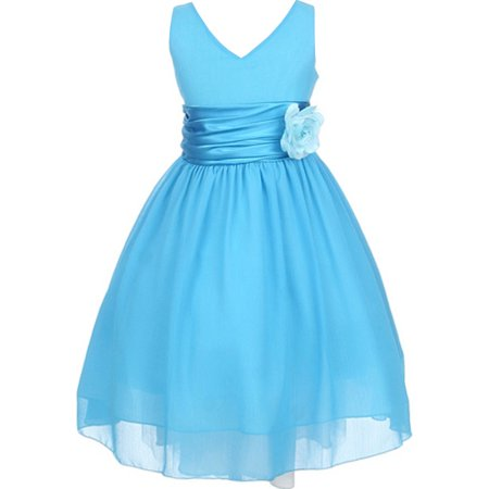 Big Girls' Chiffon V Neck Back to School Party Birthday Flower Girl Dress Turquoise Size 14 (M10B82K)