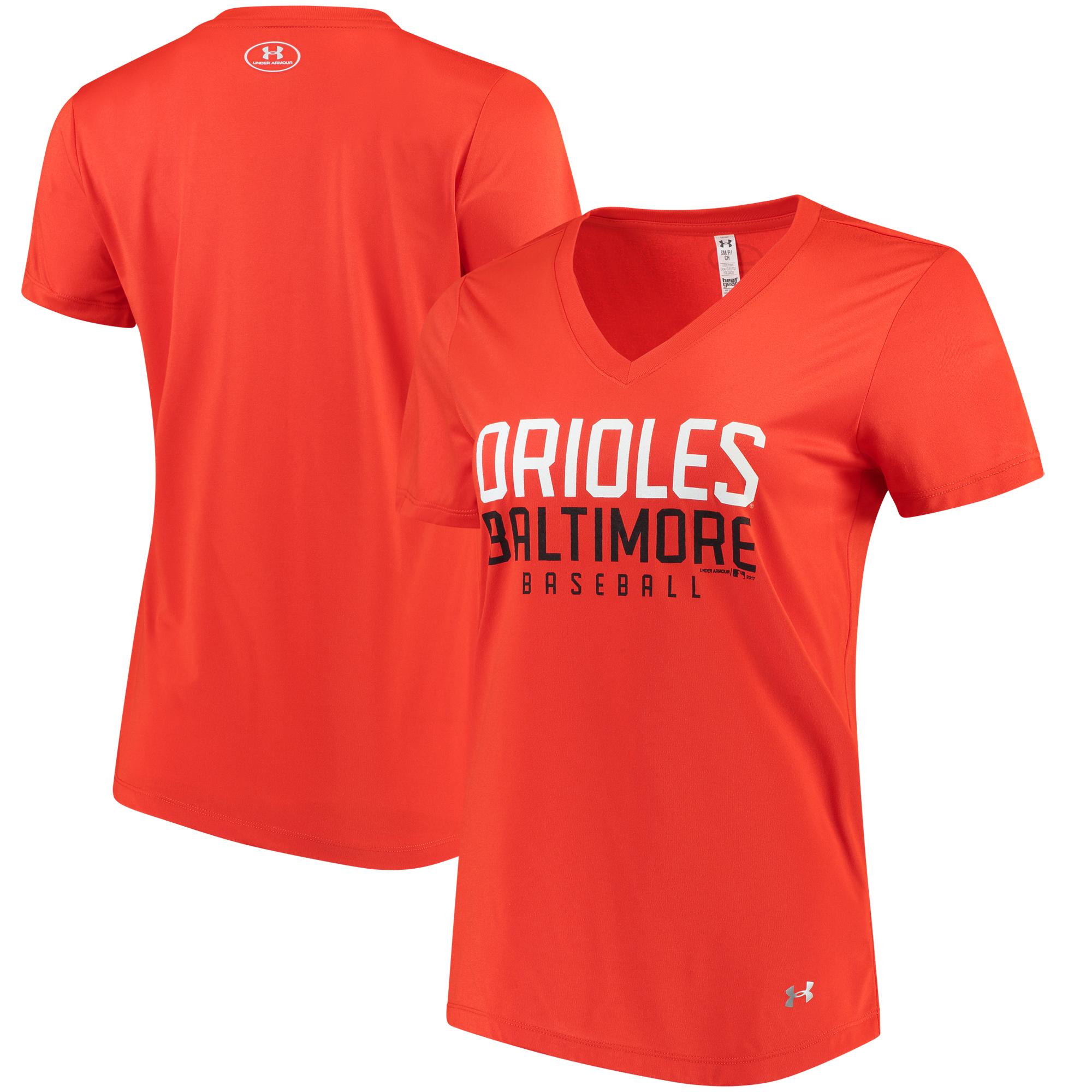 Baltimore Orioles Under Armour Women's Tech Performance V-Neck T-Shirt - Orange
