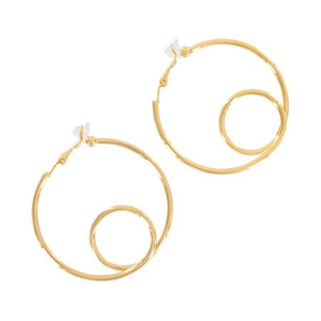 Yellow Gold Tone Large Wire Twist Clip On Hoop Earrings 2