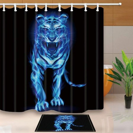 BPBOP Safari Wild Animal Decor Blue Fire Tiger Isolated on Black Shower Curtain 66x72 inches with Floor Doormat Bath Rugs 15.7x23.6 inches