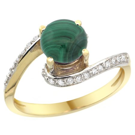 - 14k Yellow Gold Natural Malachite Swirl Design Ring Diamond Accent Round 6mm, 1/2 inch wide