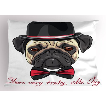Pug Pillow Sham Sketch Style Hipster Dog Frowning Sad Face Pure Bred Top Hat and a Bow Tie Mr Pug, Decorative Standard King Size Printed Pillowcase, 36 X 20 Inches, Black Red Cream, by Ambesonne