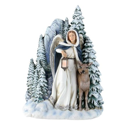 "7"" Joseph Studio Angel with Deer Winter Scene Table Top Decoration - Roman Scene"