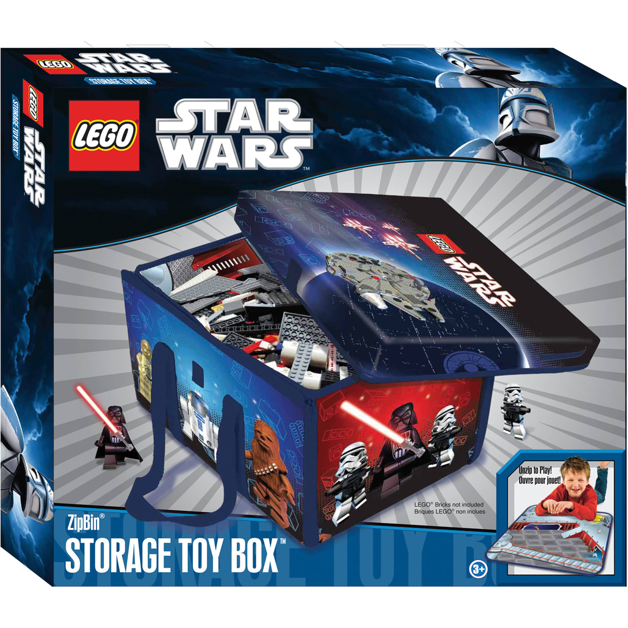 Star Wars LEGO ZipBin Storage Toy Box   Walmart.com