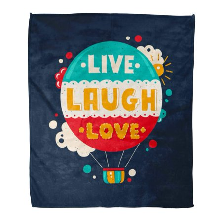 POGLIP Flannel Throw Blanket Abstract Modern Flat Hipster Quote Phrase Live Laugh Love Soft for Bed Sofa and Couch 58x80 Inches - image 1 of 1