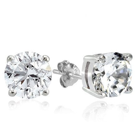 Sterling Silver 7.75ct Cubic Zirconia 10mm Round Stud Earrings