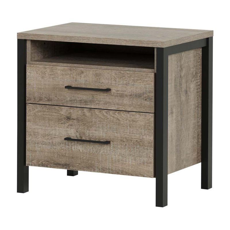 South Shore Munich 2-Drawer Nightstand, Weathered Oak