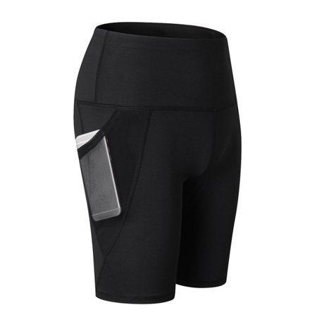 Summer Women Gym Sports Fitness Compression Short Pants, Quick-dry Tight Stretch Shorts For Running Yoga Workout Exercise with Mesh Pockets Hot