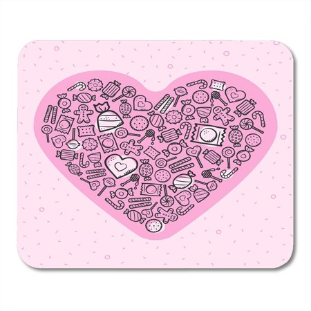 LADDKE Biscuit Abstract of Love with Heart and Sweets on Light Pink Artistic Candy Mousepad Mouse Pad Mouse Mat 9x10 - Personalized Love Heart Sweets