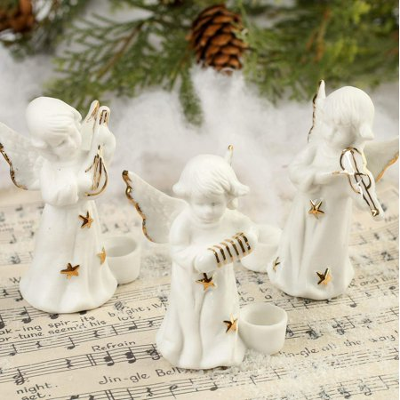 Package of 12 Sweet Porcelain Musical Angel Candle Holders for Fall, Halloween and Thanksgiving Decorations, Package of 12 Sweet Porcelain Musical Angel Candle.., By Factory Direct - Halloween And Fall Crafts