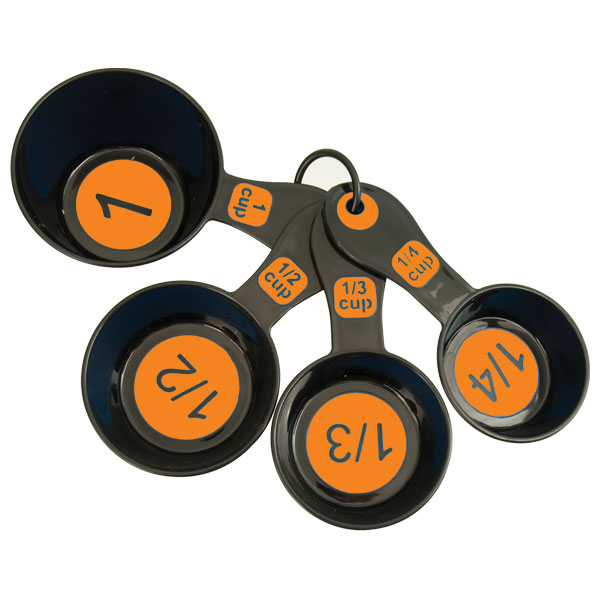 Measuring Cups with Large Print-Set-4 Black-Orange