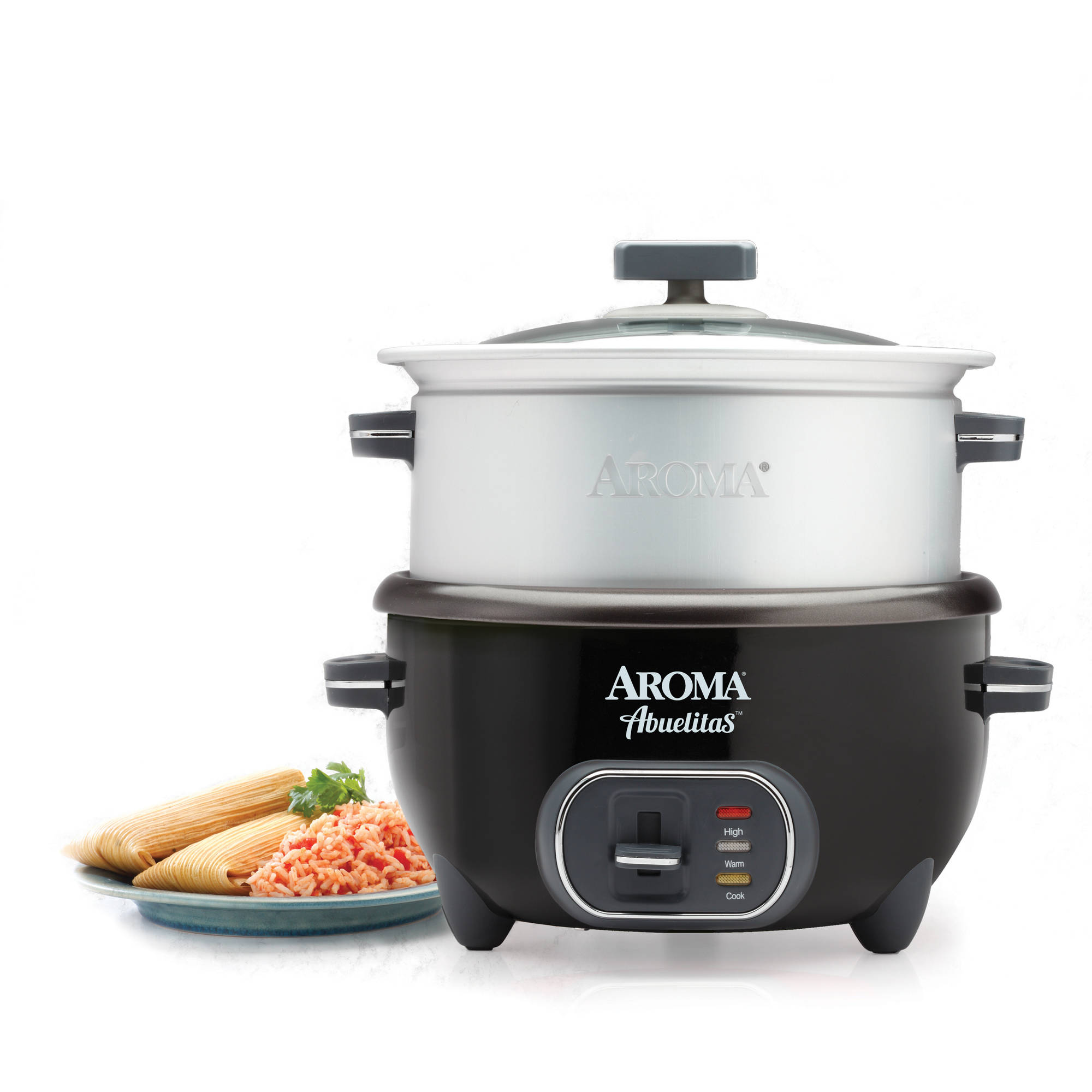 Aroma 20-Cup (Cooked) Spanish Rice Cooker with XL Steamer, Black