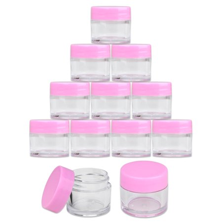 Beauticom 24pcs 7 Gram 7 ml Round High Quality Pink Acrylic Clear Sample Leak Proof Container Jars - Beads Gems Glitter Charm Rhinestones (Jar Jewels)