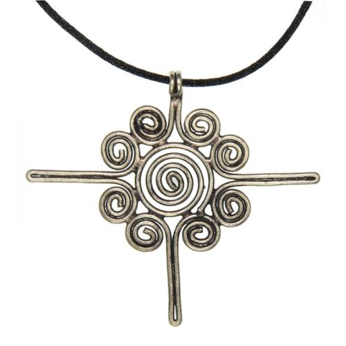 Zenses Handmade Large Miao Silver Sun Flower Necklace (China)