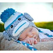 Knitnut By JL Handmade Blue Sock Monkey Knit Hat