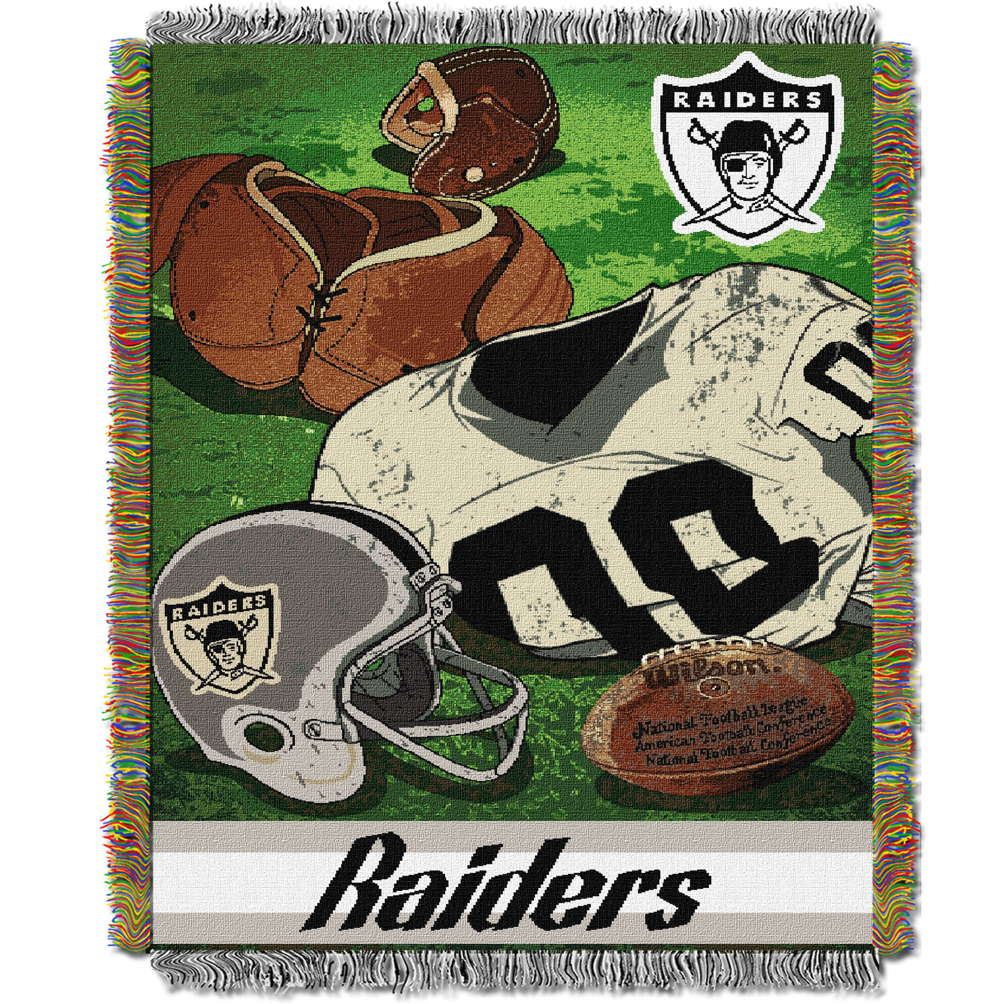 Oakland Raiders The Northwest Company 48'' x 60'' Vintage Woven Tapestry Throw - No Size