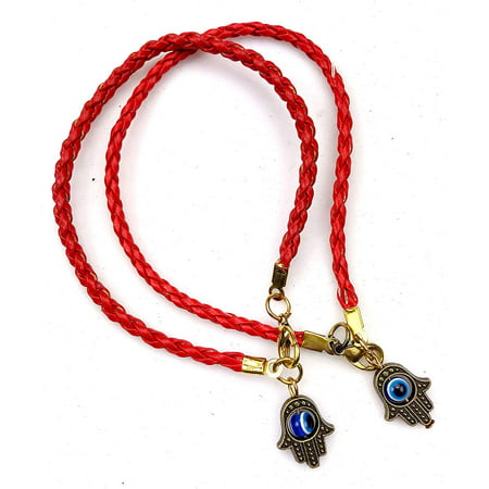 2pc Hamsa Red String Line Kabbalah Bracelets Braided String Cord and Rotating Goldtone Evil Eye Hamsa Hand - Amulet Pendant Jewelry for Success and Protection Lucky