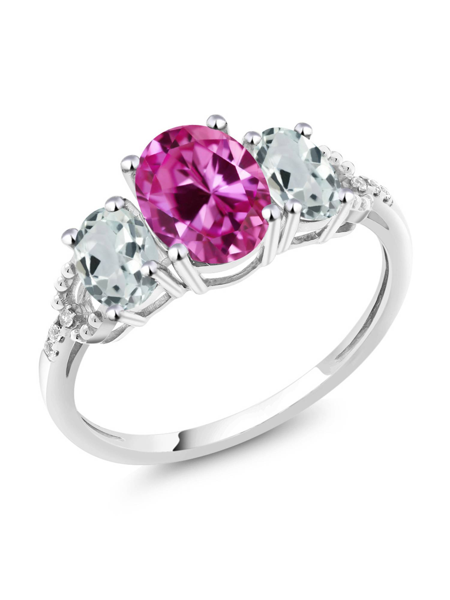 10K White Gold Diamond Accent Three-Stone Engagement Ring set with 2.56 Ct Pink Created Sapphire Sky Blue Aquamarine by