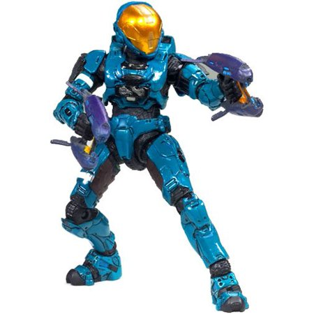 Halo 3 Series 6 MEDAL EDITION Exclusive Action Figure TEAL Spartan Soldier Eva Includes 2 Covenant Pulse Rifles, Stand 6 inches tall By McFarlane Toys From USA