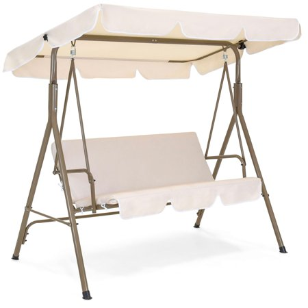 Best Choice Products 2-Person Outdoor Large Convertible Canopy Swing Glider Chair w/ Removable Cushions, Beige ()