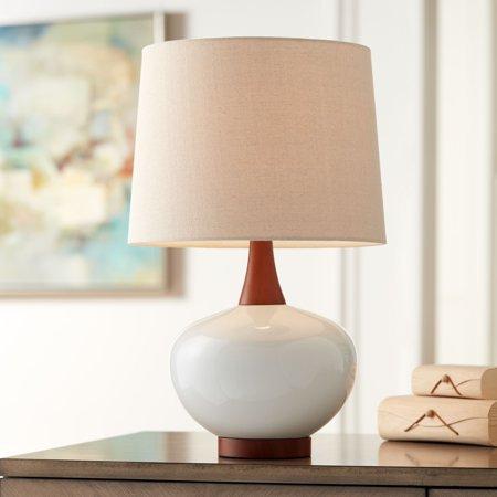 360 Lighting Mid Century Modern Table Lamp Ceramic Ivory Off White