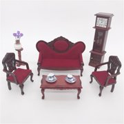 matoen Dollhouse Furniture Mini Sofa Set Miniature Living Room Kids Pretend Play Toy