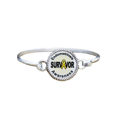 Survivor Jewelry (Endometriosis Awareness Survivor Silver Plated Bracelet)