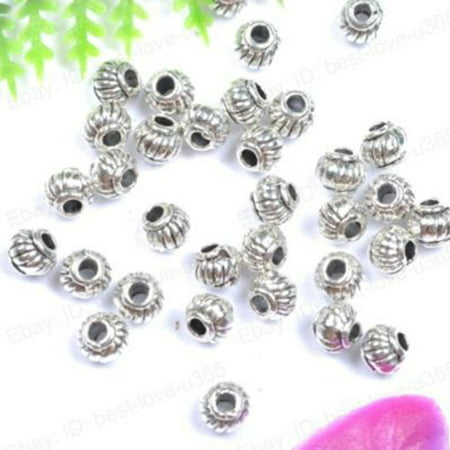 ZeAofa 100Pcs Tibetan Silver Charms Spacer Beads Jewelry Findings Making DIY Crafts