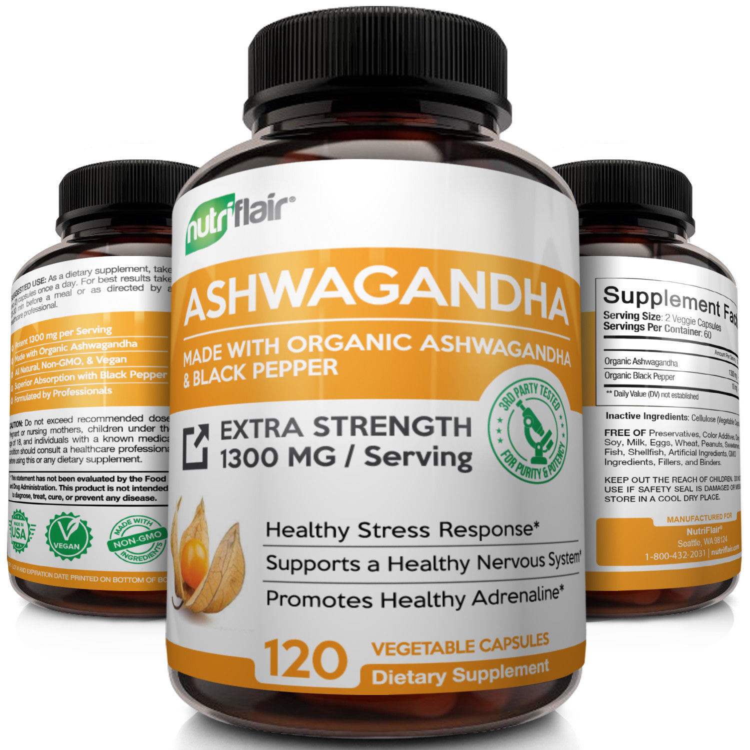 NutriFlair Organic Ashwagandha Root Powder with Black Pepper Extract 1300mg - Stress Relief, Anxiety & Mood Support, 120 Capsules