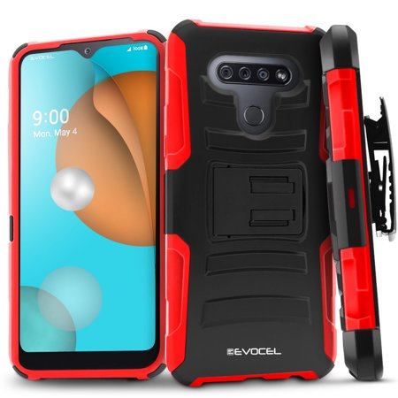 LG K51 Case, Evocel [Belt Clip Holster] [Kickstand] [HD Screen Protector] [Dual Layer] Generation Series Phone Case for LG K51, Red