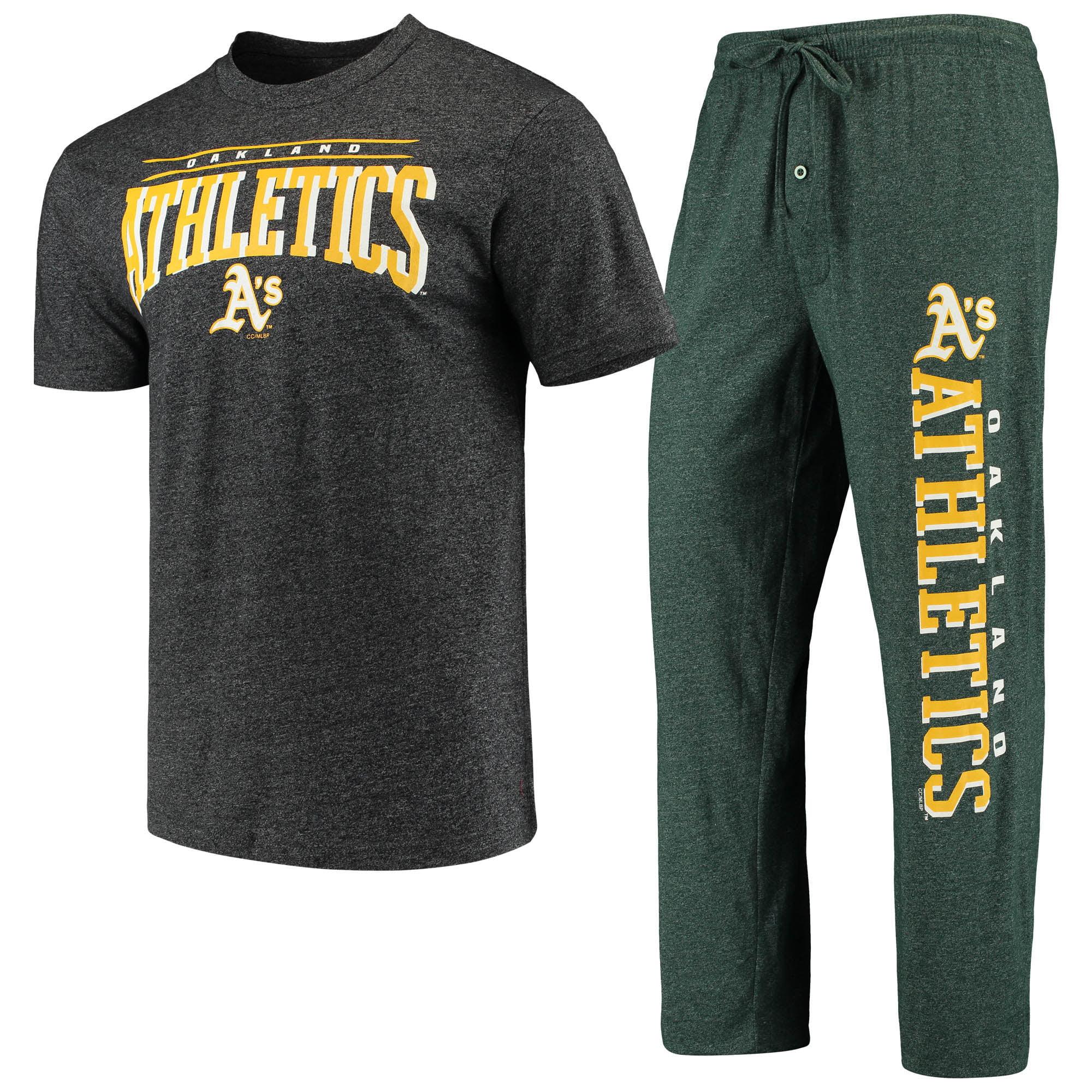 Oakland Athletics Concepts Sport Holiday Pants & Top Sleep Set - Heathered Green/Heathered Charcoal