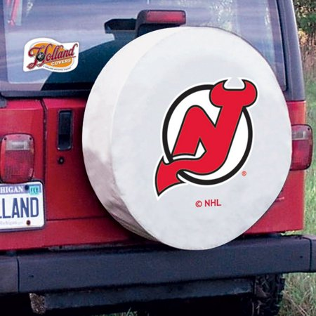 New Jersey Tire Cover with Devils Logo on White Vinyl Size: A - 34 x 8